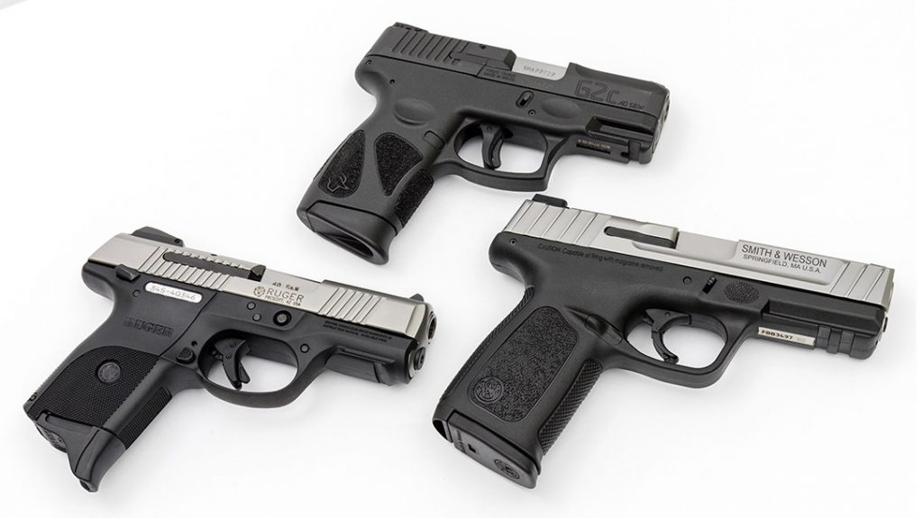 Each of the three pistols is striker-fired with a safety-action type trigger.  All three also had accessory rails. The S&W and Taurus have oval fingertip locators.