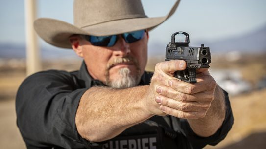 Sheriff Mark Lamb sends rounds downrange with a new Walther pistol.