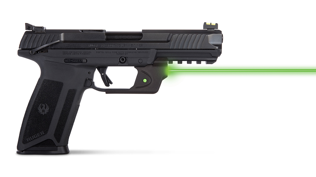 The Viridian E-Series Green Laser brings enhanced targeting to the Ruger-57 pistol.