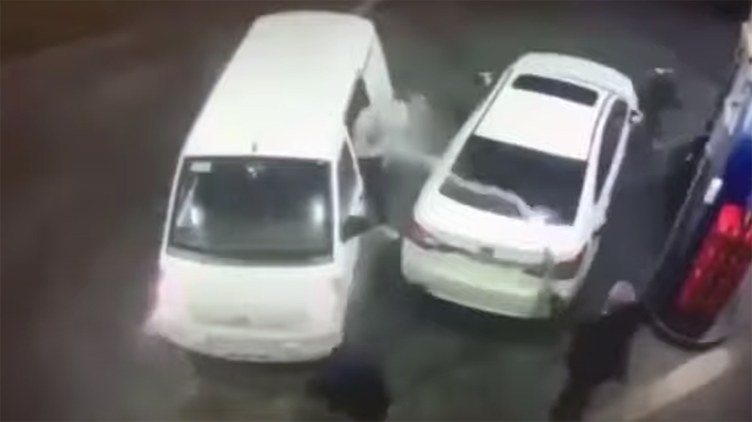 A man used a gas pump to fight off attackers.