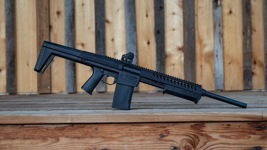 The modular Blackwater Sentry 12 shotgun features a polymer lower, serialized aluminum upper receiver and handguard with removable polymer buttstock.