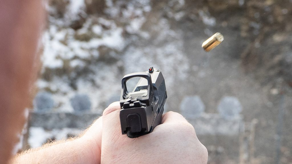 The height of the iron sights on the custom P365XL allow for use even with optics installed.