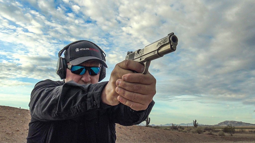 The author shooting the Wilson Combat Limited 10 number four.