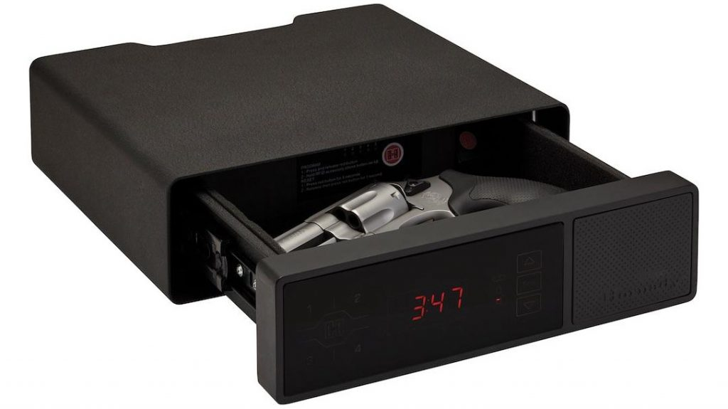The Hornady Security RAPiD Safe night Guard has a tempered glass front panel with clock, RFID reader and keypad.