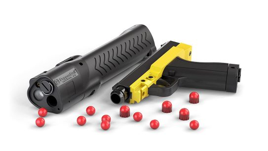 The Pepperball pistol is a safe means for self-defense at a distance.