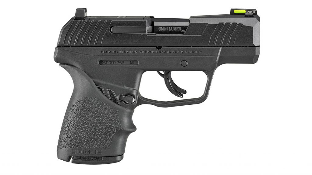 The magazine release on the Ruger Max-9 Hogue is reversible for right- or left-hand use.