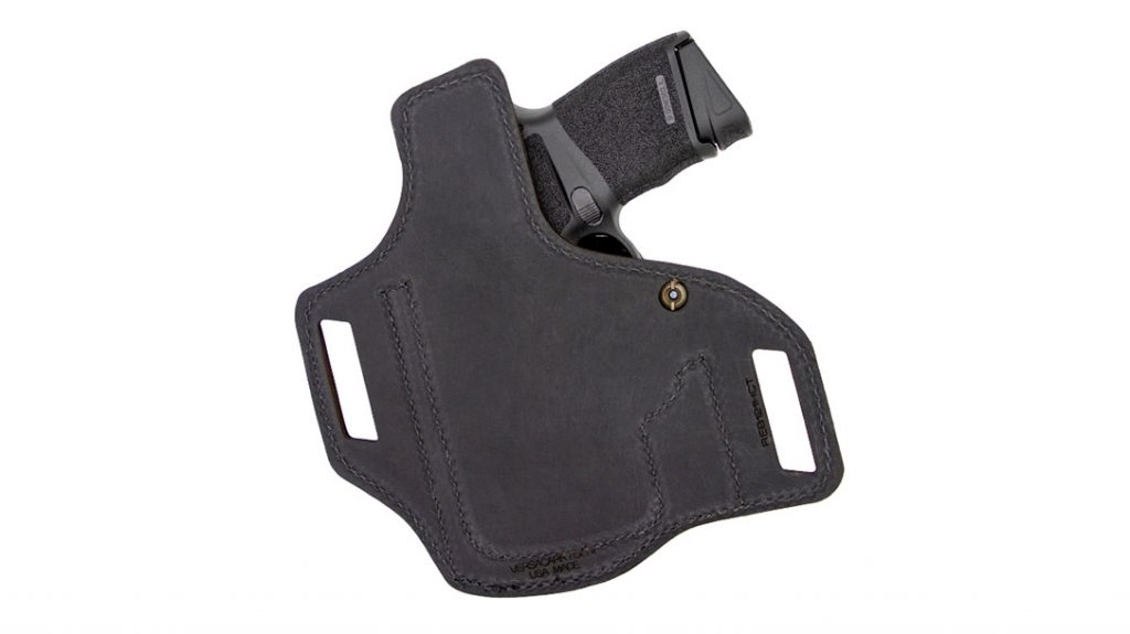 The leather backing of the Versacarry Rebel Optics Compatible Springfield Hellcat and Sig P365 OWB Holster