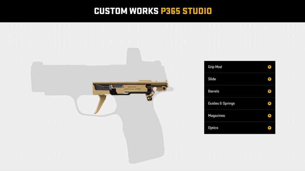 The Custom Works Studio starts with a silhouette of the P365 with the FCU in place.