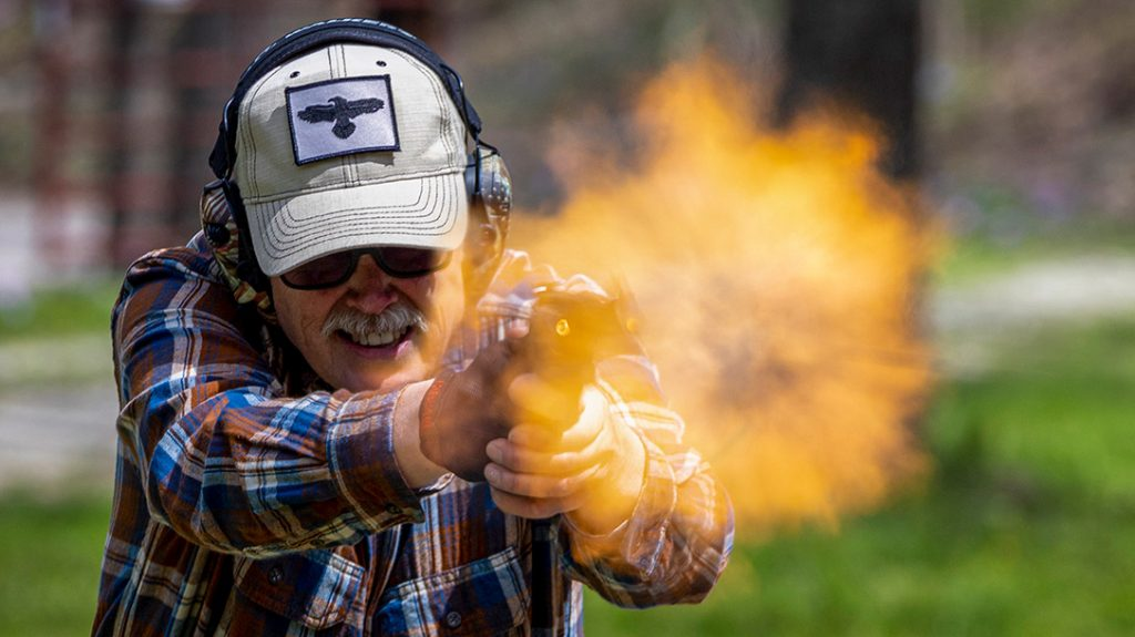 The author firing the Smith & Wesson 329pd Airlite 44 Mag