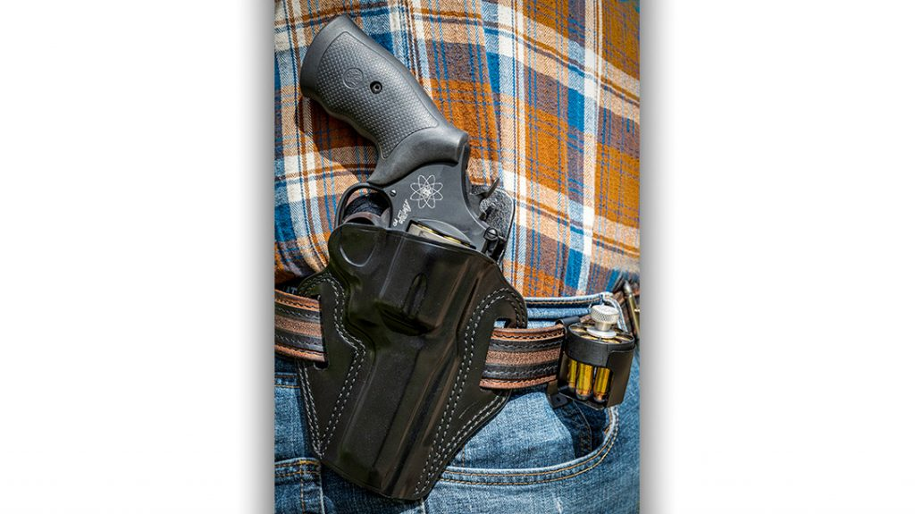 For the practical shooting test of the Model 329PD, the author used a Galco Combat Master Belt Holster with extra ammo in an HKS speedloader and Safariland steel carrier.