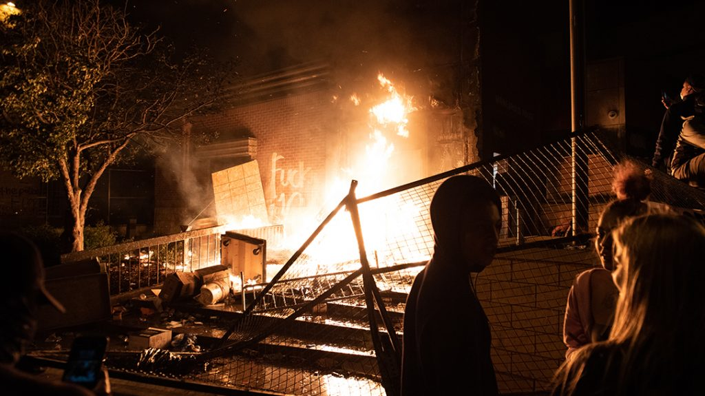 The Minneapolis Police Department's Third Precinct station was set ablaze during civil unrest in 2020. First responders and citizens in the area can rapidly become victims of such mobs making surviving civil unrest more difficult.