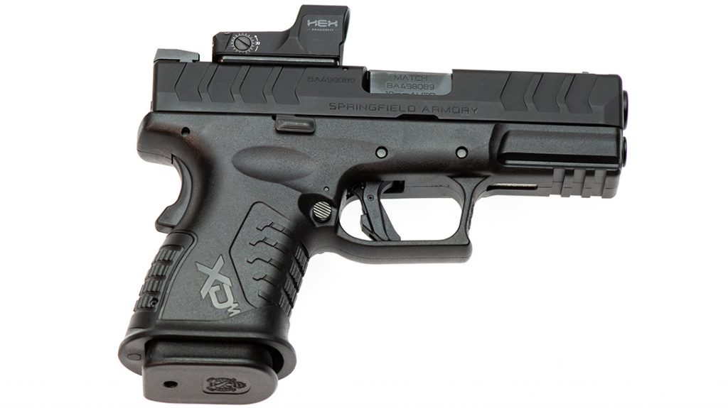 The Springfield XDm Elite Compact comes topped with a Hex red dot.