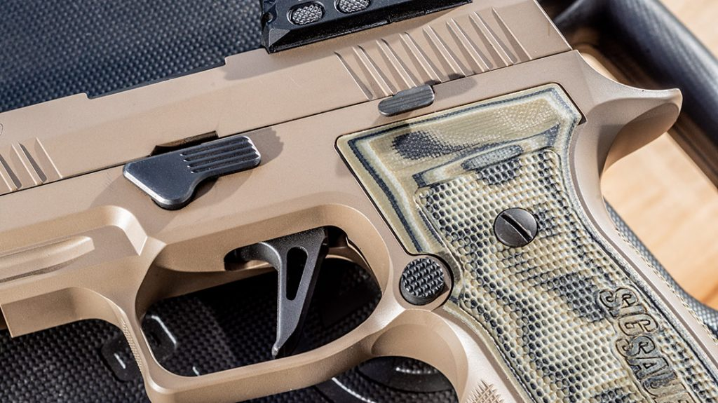 The Sig Sauer X-Series straight trigger of the AXG Scorpion offers a 90-degree break for better geometry.