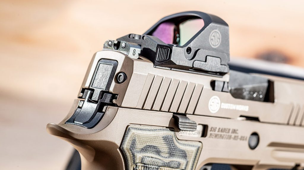 The optic ready slide of the Sig Sauer AXG Scorpion is compatible with many platforms, including the Sig Romeo 1PRO.