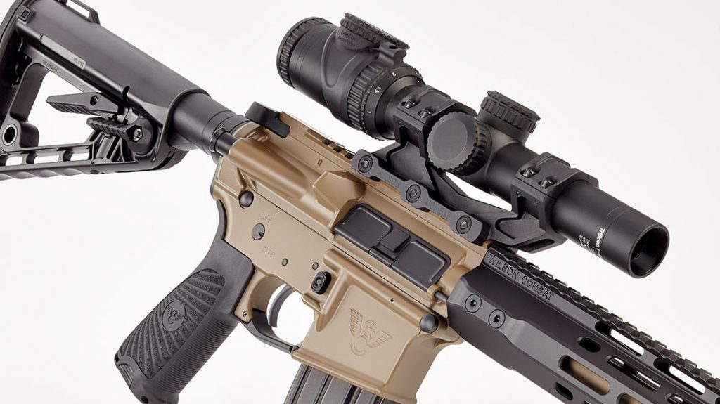 The home defense carbine features the Wilson Combat logo embossed on the mag well.