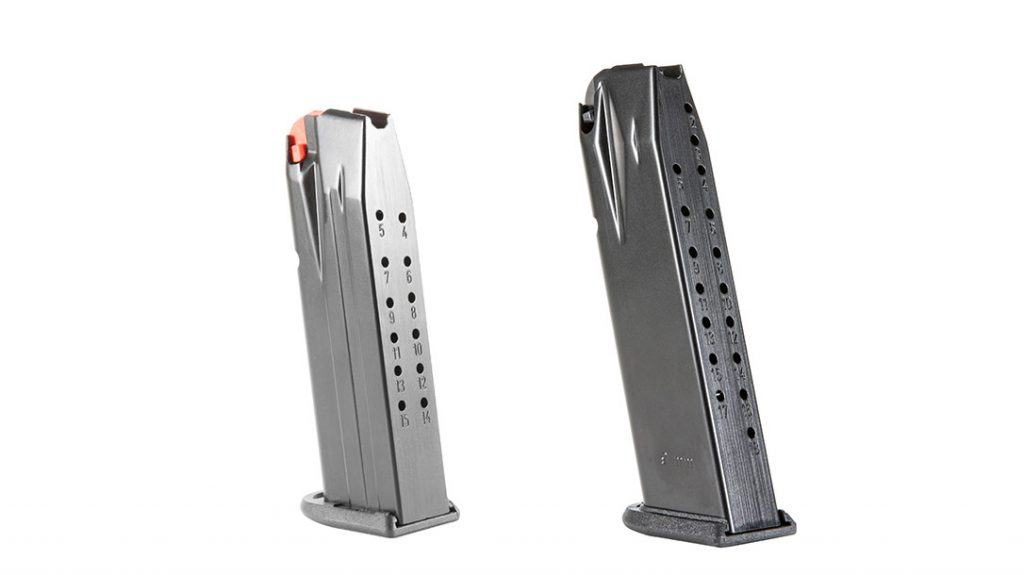 The compact and full-sized PDPs ship with two metal magazines with polymer followers. The full-size capacity is 18+1; the compact holds 15 +1.